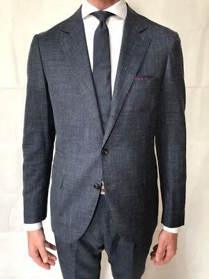 BRUNELLO CUCINELLI Blue Micro-Check Wool Linen and Silk-Blend Suit Size IT 50