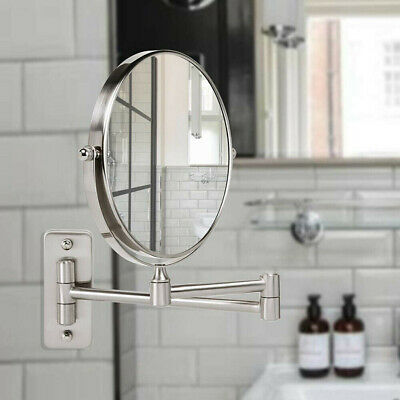 10X Extending Magnifying Makeup Bathroom Shaving Round 2-Side Mirror Wall Mount