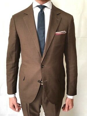 BRUNELLO CUCINELLI Brown Micro-Check Wool Linen and Silk-Blend Suit Size IT 50