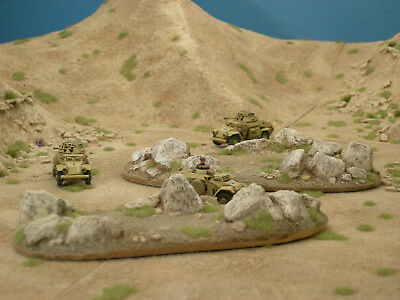 2x Desert Rock Outcrops for Flames of War (Painted and Flocked)