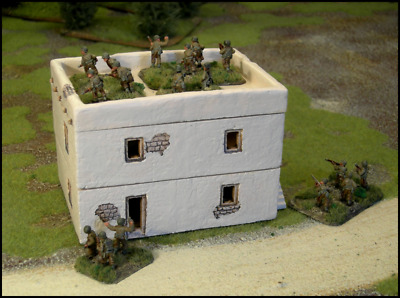 Large Desert/Italian Building for Flames of War (Painted and Flocked)