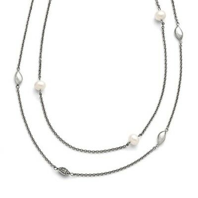 Stainless Steel 39in Polished Freshwater Cultured Pearls/CZ 2in ext. Necklace