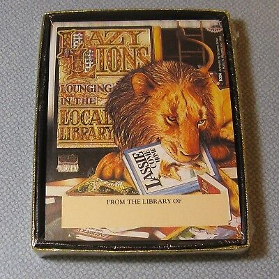 Antioch Publishing 30 Self Stick Bookplates NIB Lazy Lions Lounging in Library