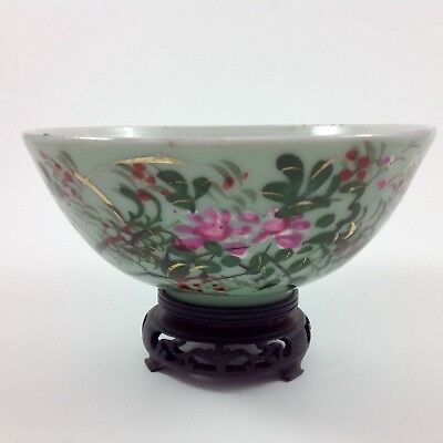Antique Meiji Japanese Celadon Porcelain Hand Decorated Bowl