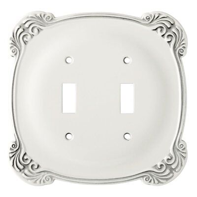Liberty Arboresque Wall Switch Plate Cover Double Toggle Antique White Metal NEW