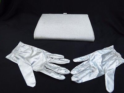 Vintage 1950's Silver Metallic Clutch Purse & Matching 100% Nylon Gloves ~ PARTY