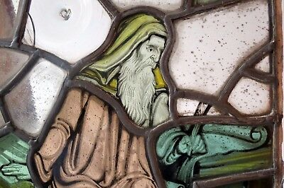 Antique Hand Painted Stained Glass Window Panels (4)