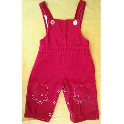 Vintage red corduroy overalls with poodle embroidery baby infant toddler 9-12 mo
