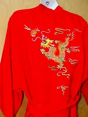 VTG Chinese DRAGON Red ROBE Kimono Short BROCADE Embroidered S Small ASIAN Chi