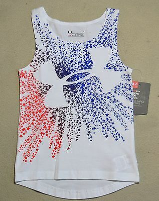 Nwt Girls Under Armour Usa Stars White Heat Gear Tank Top Shirt Size 2T-6, Ymd