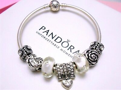 Authentic Pandora Silver Bangle Charm Bracelet With Family Heart European Charms
