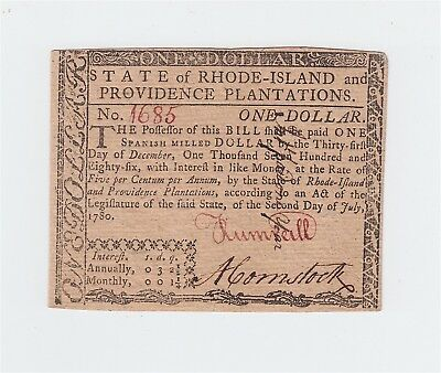 Colonial Currency / $1 note Rhode Island 1780 / July 2, 1780 one dollar bill USA