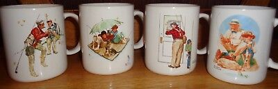1987 Norman Rockwell's Set of 4 Fishing Themed Mugs by Museum Collections