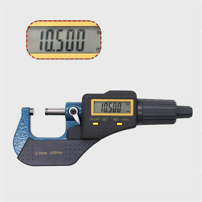 """0-25mm Professional Digital Electronic Micrometer Outside 0-1""""/0.00005"""" LCD"""