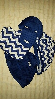 Carseat Canopy SET Blue White Chevron