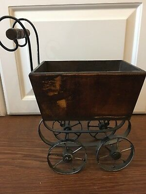Antique Baby Doll Metal Carriage Buggy Pram with Wood Basket