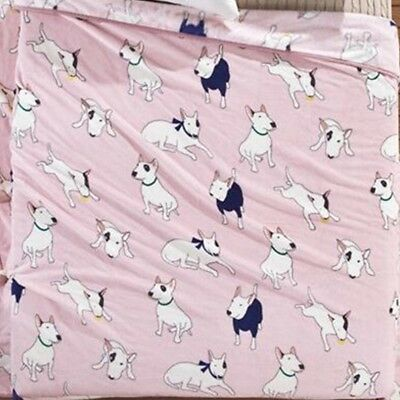 Bull terrier dog cartoon pink throw blanket 70x100 cm like fleece soft plush