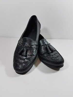 Earth Shoe Men's Dress Loafers Size 10D Black Alan Oxford Kiltie Tassels