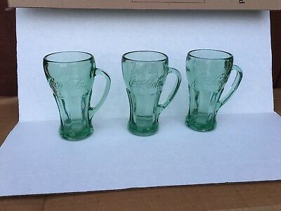 Set Of 3 Vintage, Green Tinted Heavy Coca Cola  Glass/ Mugs With Handles