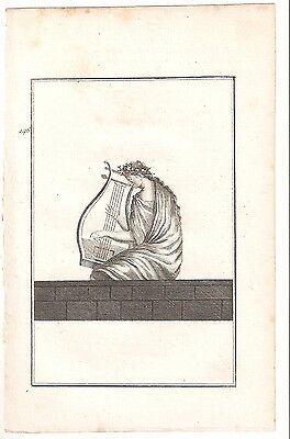 1780 Antique Copperplate Print-Lady Playing Instrument