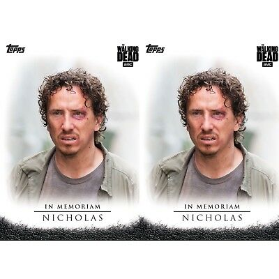 2x SELECTS IN MEMORIAM NICHOLAS Topps Walking Dead Trader Digital Card
