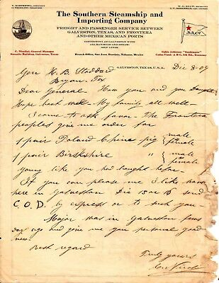 1907 Letter to General H B Stoddard from Capt C Nicolini Galveston Texas