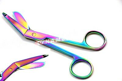 "1 Stainless Steel Bandage Bent Craft Scissors Surgical & First Aid 5.5"" RAINBOW"
