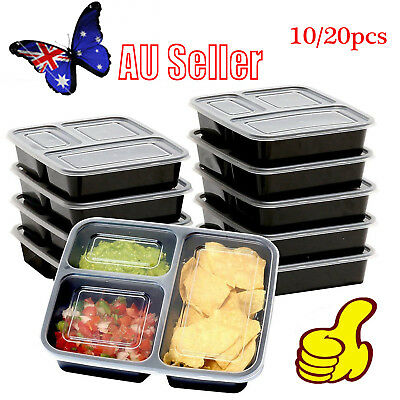 10/20pcs Microwavable Meal Prep Plastic Containers Food Storage Reusable Box EE