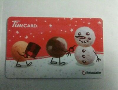 TIM HORTONS coffee snowman Christmas 2017 no value Gift Card collectible