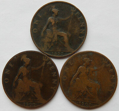 "1897, 1900 & 1901 UK / Great Britain One Penny Coin ""Lot of 3 Coins""    SB5048"