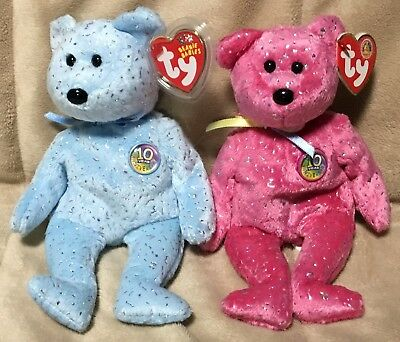 Lot of 2 TY Beanie Babies Bear ~ Decade (Pink & Blue Versions)