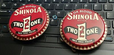 LOT OF 2 VINTAGE SHINOLA OX BLOOD Two In One Wax Shoe Polish Tins EMPTY