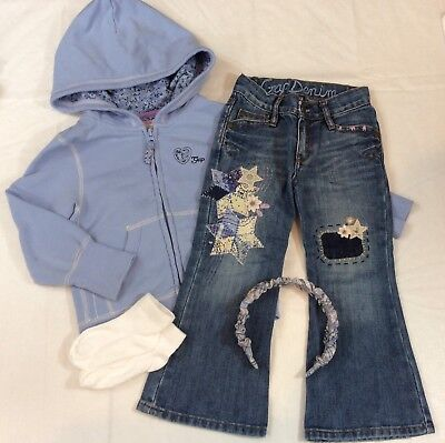 BABY GAP Hooded Sweat Jacket & Embroidered Jeans Outfit + Headband & Socks 3 3T