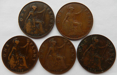 "1918 UK / Great Britain One Penny Coin ""Lot of 5 Coins""  SB5053"