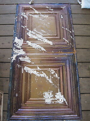 "10  Tin Antique Ceiling Panels 24"" X 48""  Picture Frame Style Tiles"