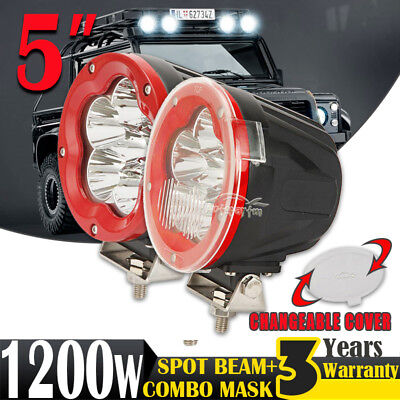 PAIR 5inch 1200W CREE LED Driving Light Work Lamp Spotlight Offroad Truck HID 7""
