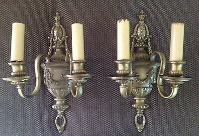 Antique Candelabra French Bronze/Brass Double Armed Electric Wall Sconce Set 2