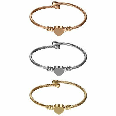 3pcs Stainless Steel Women's Girls Twisted Cable Heart Chain Bracelet Bangle Set