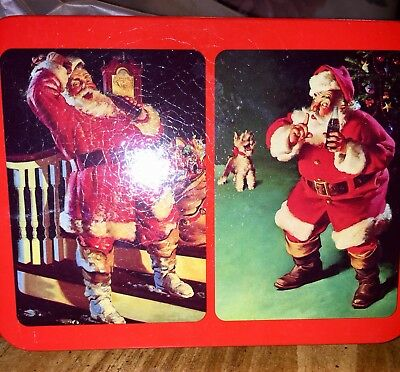 Nostalgia Coca Cola Tin With playing Cards - 2 Decks dated 1993 - Santa and Dog
