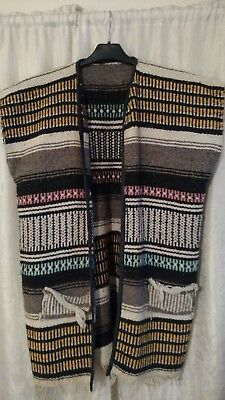 VTG Mexican Serape Wool Blanket South western hand Woven old Poncho Vest Wrap