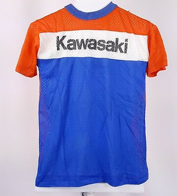 vintage 70s Rite Smart KAWASAKI Mesh T-SHIRT BLUE ORANGE MOTORCYCLE