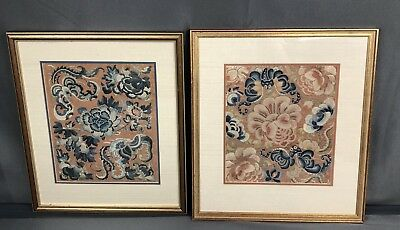 Lovely Antique Set Of Two Chinese Silk Panels With Peking Knot Fine Details