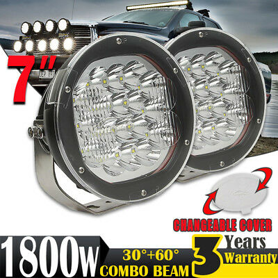 2x 7inch 1800W LED CREE Driving Light SPOT Work Lamp Offroad Headlight 4x4WD HID