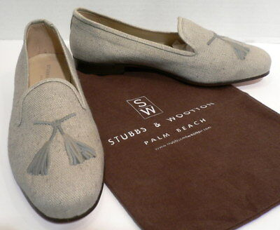 STUBBS & WOOTTON Gray Linen Leather Tassel Shoes Loafers Slippers Bag 9 1/2 MINT