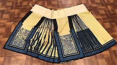 Magnificent Antique Chinese Silk Yellow Skirt With Butterflies Very Fine Details