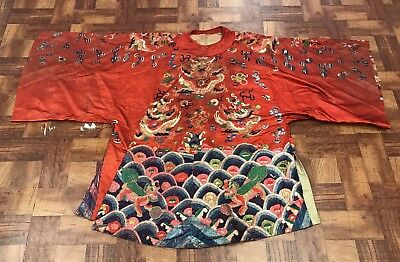 Lovely Antique Chinese Silk Dragon Robe With Fabulous Colors And Details