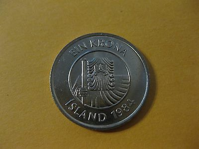 """1996 Iceland Coin  Krona  """"Cod Fish""""  copper nickel issue a beauty fish coin"""