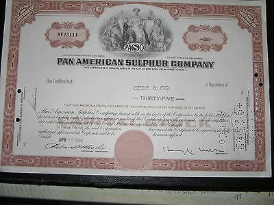 Pan American Sulphur Company Old Stock Certificate 1969