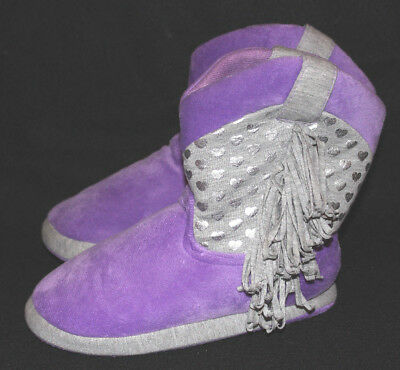 JUSTICE girls PURPLE silver foil heart & fringed BOOTIES SLIPPERS shoe SZ L 6 7
