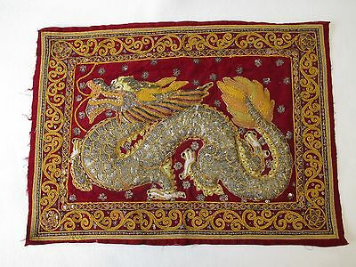 """VINTAGE BURMESE KALAGA TAPESTRY DRAGON SEQUINS GLASS BEADS 16"""" x 22"""" HAND DONE"""